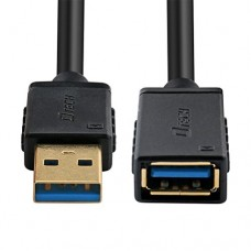 DTECH 6ft USB 3.0 Extension Cable Type A Male to Female Port Cord - Black - 2m