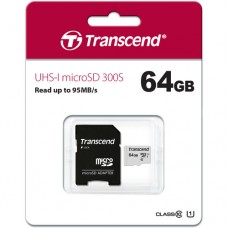 Transcend 64GB Micro SD UHS-I U1 Memory Card with Adapter (TS64GUSD300S-A)